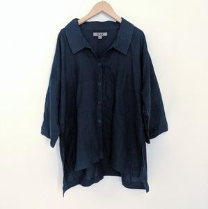 FLAX Deep Indigo Blue Linen Button Down Shirt